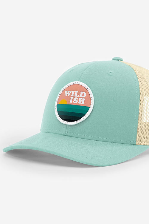 wildish sunset chaser patch hat trucker sea foam blue green