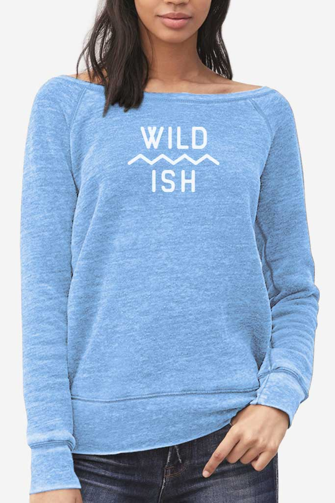 wildish mountain scape womens sweatshirt blue