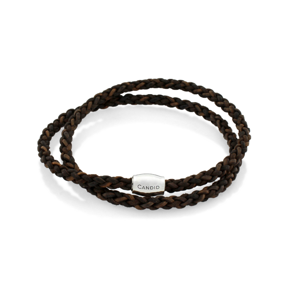 Double strand natural plaited leather bracelet