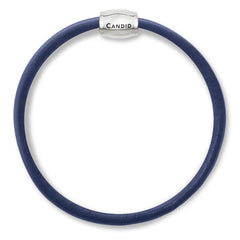 Single strand navy blue napa leather bracelet