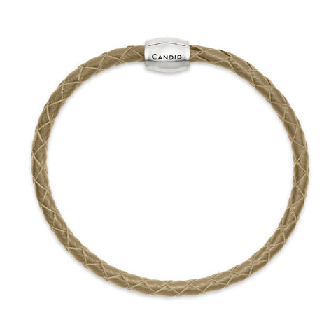 Single strand taupe plaited leather bracelet