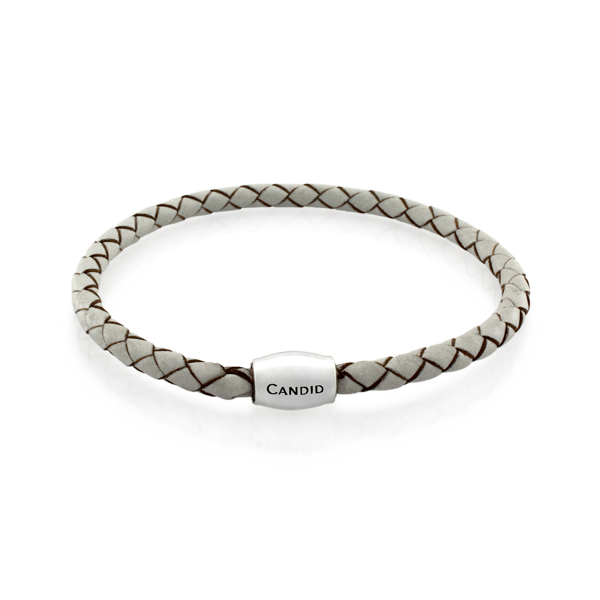 Single strand white plaited leather bracelet