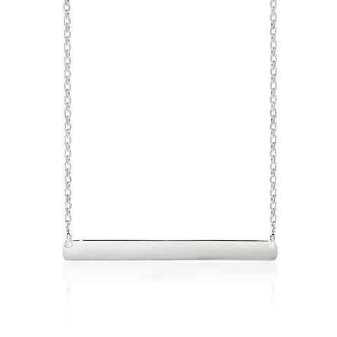 Sterling Silver Polished Bar Necklet 45cm