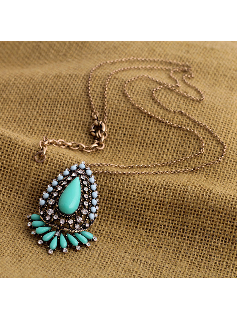 Teardrop Long Pendant Necklace