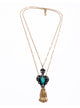 Double chain tassel gem black pendant necklace