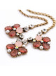 Crystal coral flower statement necklace