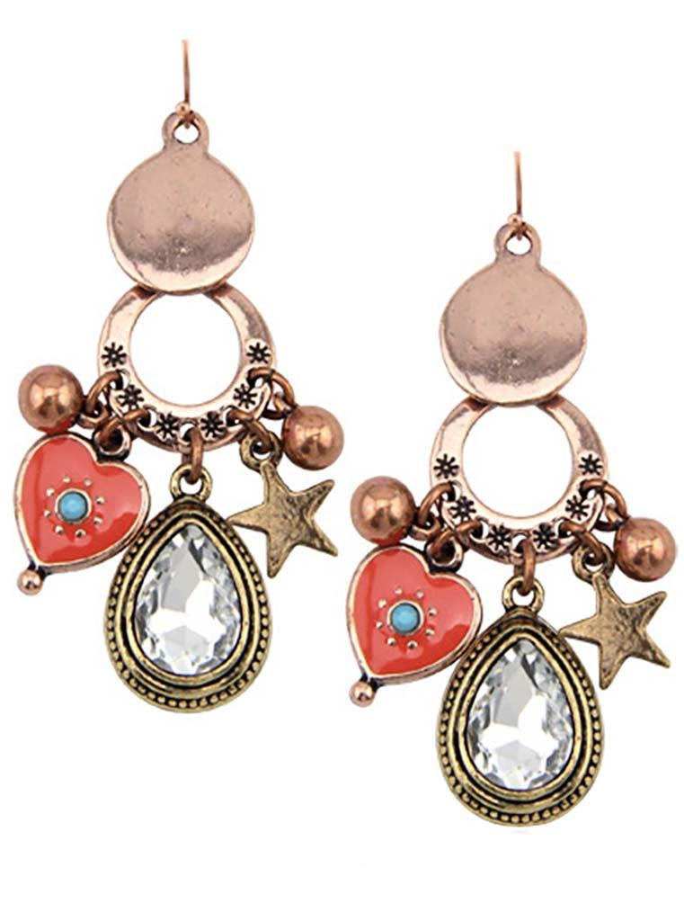 Rose Gold-Plated Teardrop Chandlier Earrings