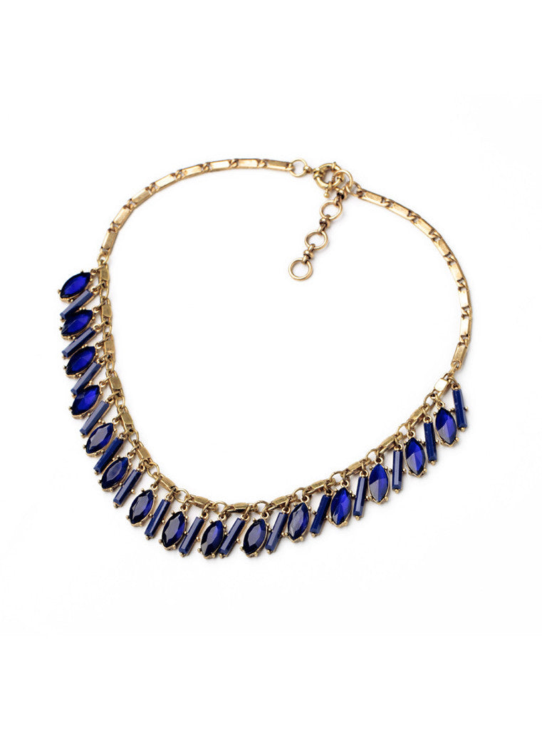Sapphire Blue Tear Drop Crystals Necklace