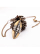 Vintage Bronze Geometric Rhinestone Long Pendant Necklace