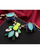 Fashion Neon Green Blue Rhinestone Leaf Necklace