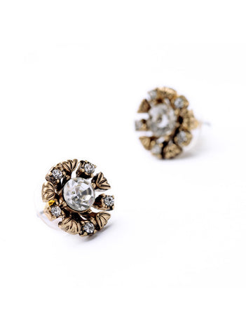 Vintage Inspired Small Rhinestone Flower Stud Earrings