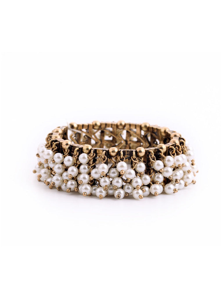 Clustered Pearl Stretch Bracelet