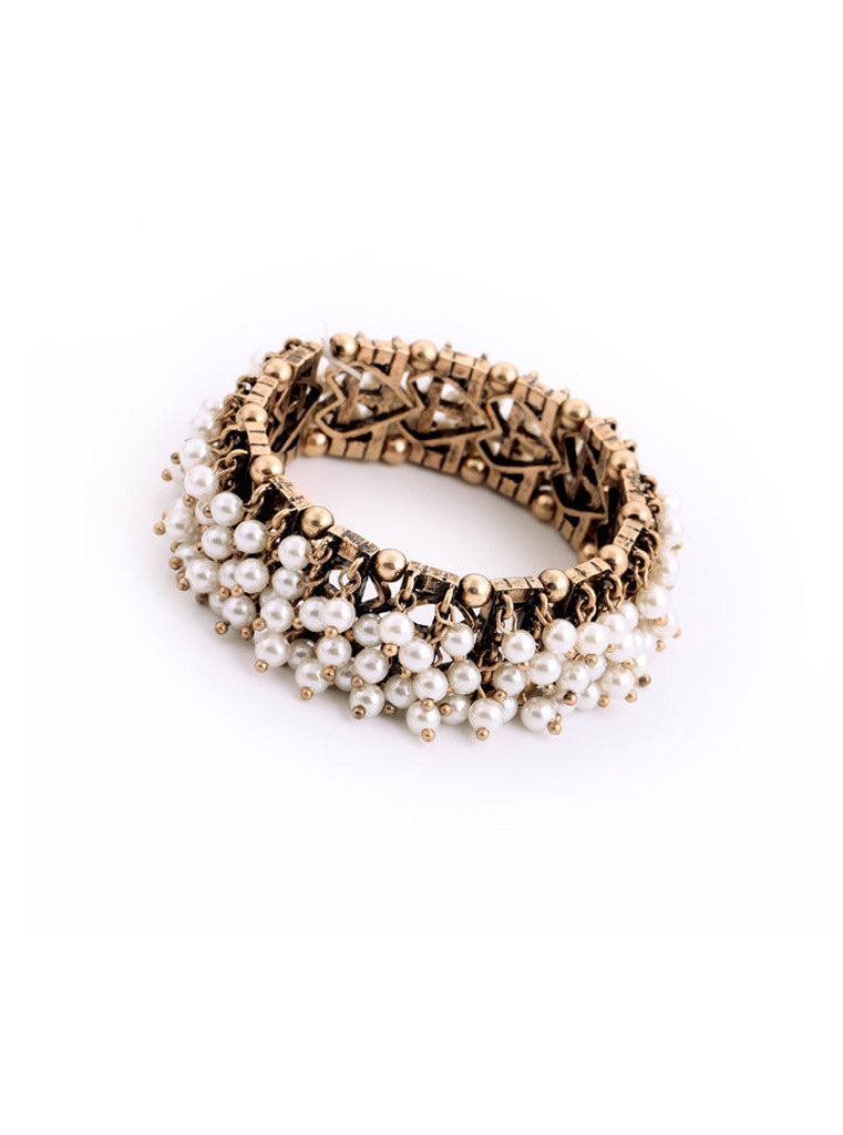 Clustered Pearl Stretch Bracelet (7)