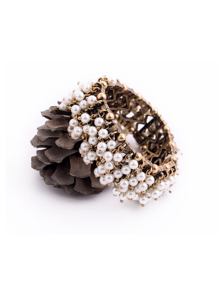 Clustered Pearl Stretch Bracelet (2)