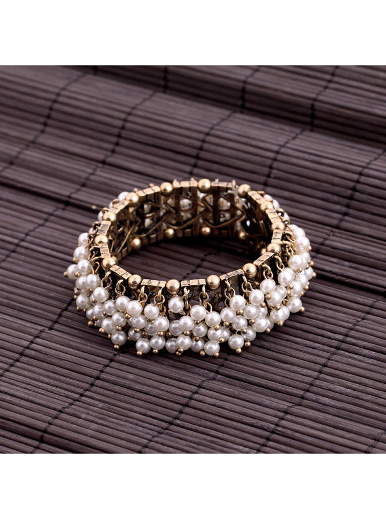 Clustered Pearl Stretch Bracelet (4)