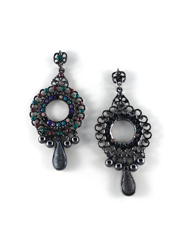 Metal Beaded Chandelier Earrings