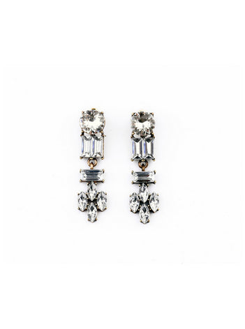 Vintage Clear Rhinestone Dangle Earrings