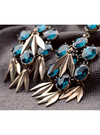 Fashion Shiny Blue Rhinestone Tassel Chandelier Earrings