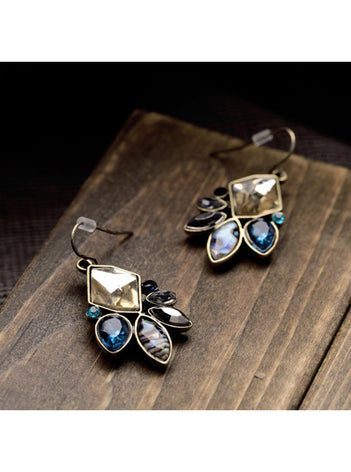Vintage Chic Dark Blue Rhinestone Flower Dangle Earrings