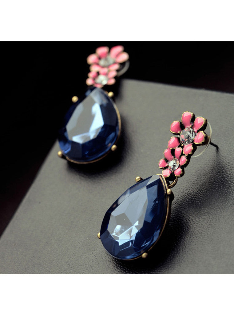 Vintage Dark Blue Waterdrop Rhinestone Pink Flower Drop Earrings (1)