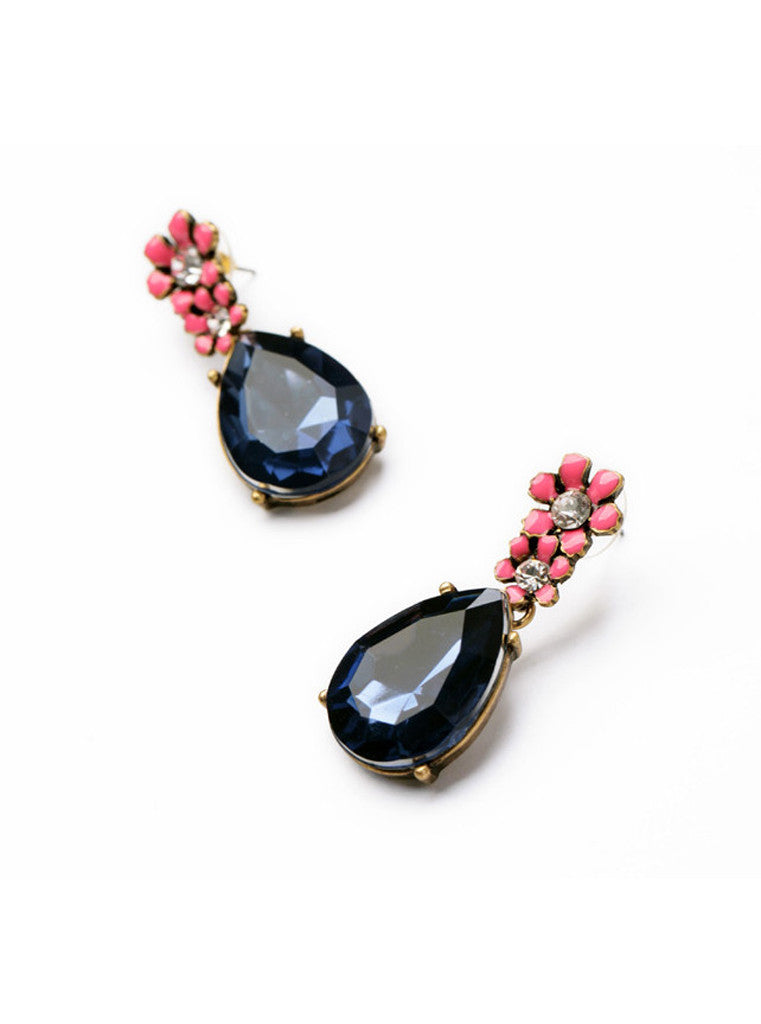 Vintage Dark Blue Waterdrop Rhinestone Pink Flower Drop Earrings (2)