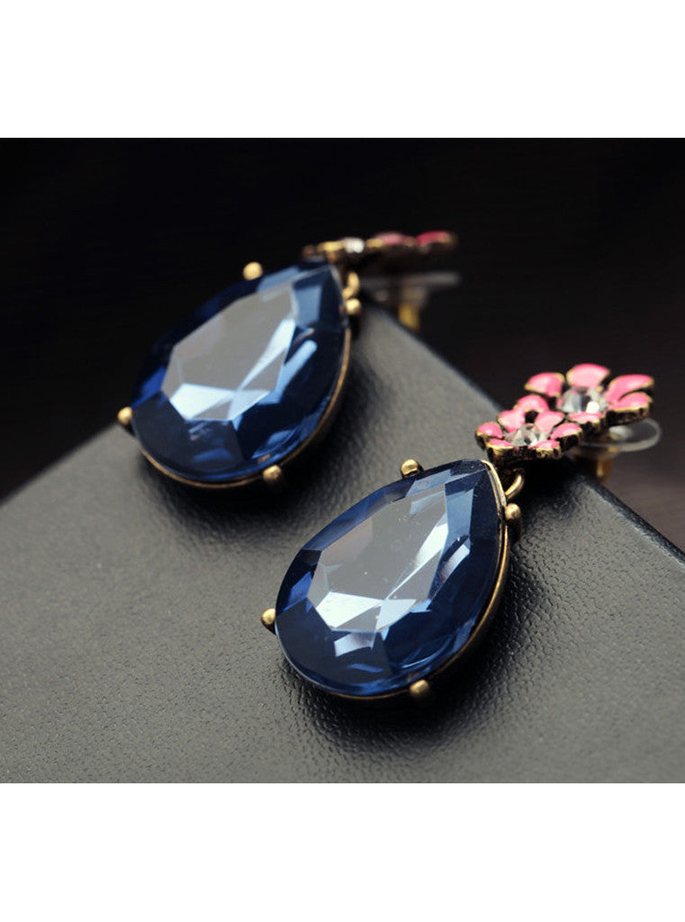 Vintage Dark Blue Waterdrop Rhinestone Pink Flower Drop Earrings (3)