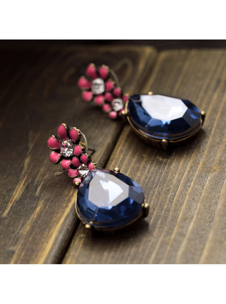 Vintage Dark Blue Waterdrop Rhinestone Pink Flower Drop Earrings (5)