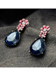 Vintage Dark Blue Waterdrop Rhinestone Pink Flower Drop Earrings