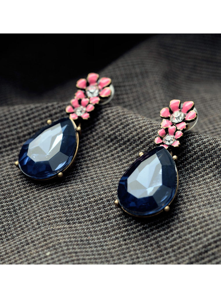 Vintage Dark Blue Waterdrop Rhinestone Pink Flower Drop Earrings (6)