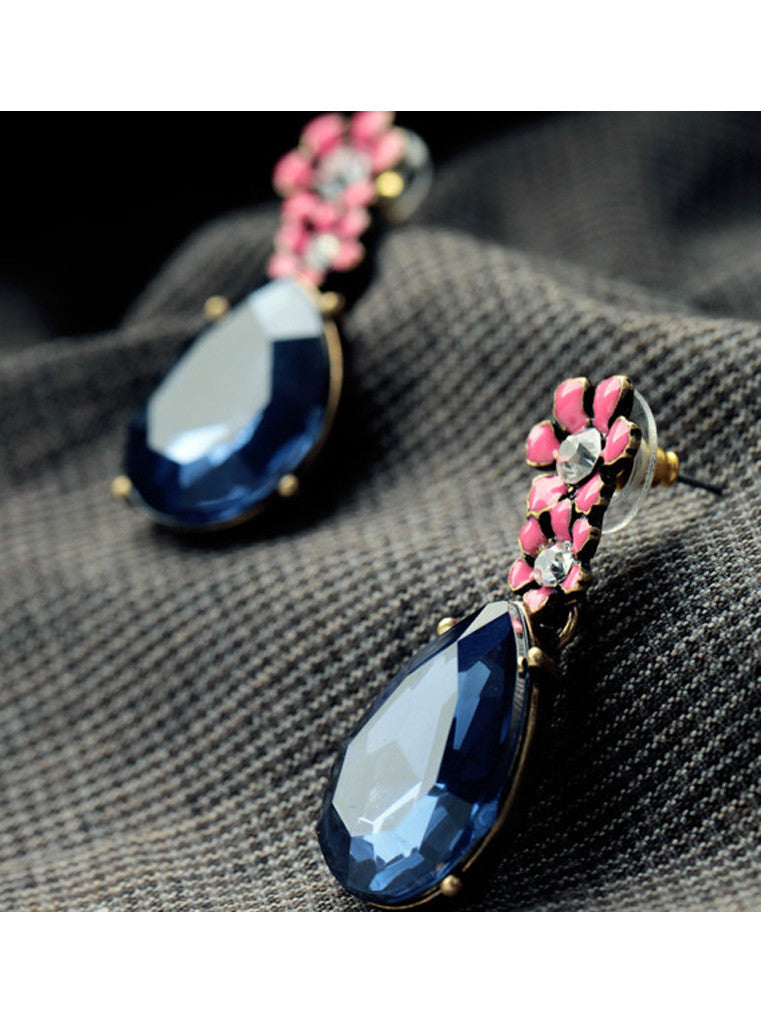 Vintage Dark Blue Waterdrop Rhinestone Pink Flower Drop Earrings (7)