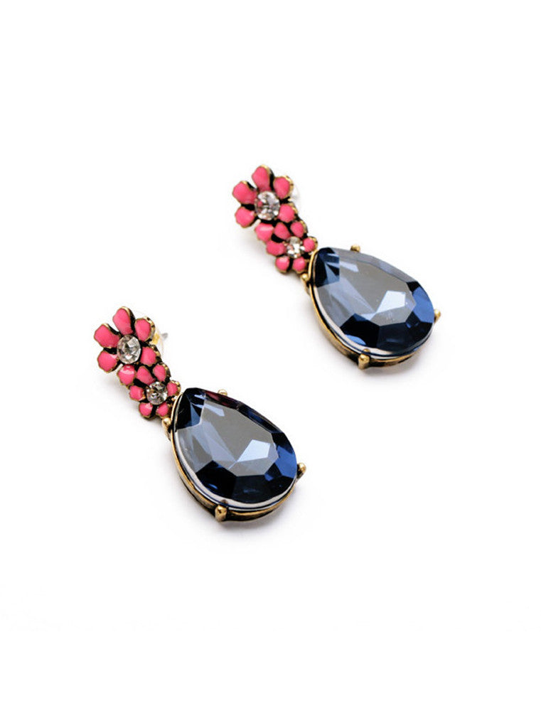 Vintage Dark Blue Waterdrop Rhinestone Pink Flower Drop Earrings (8)