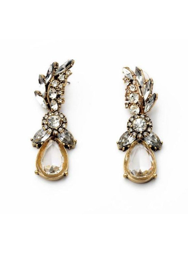 Lucency Statement Waterdrop Leaf Drop Earrings