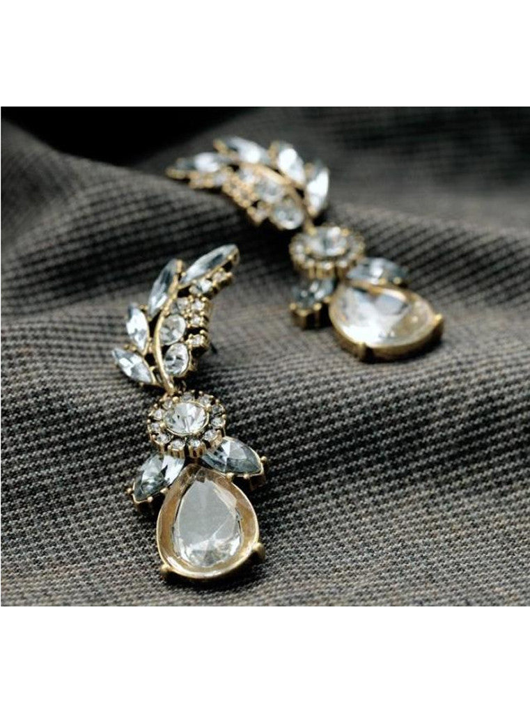 Lucency Statement Waterdrop Leaf Drop Earrings (4)