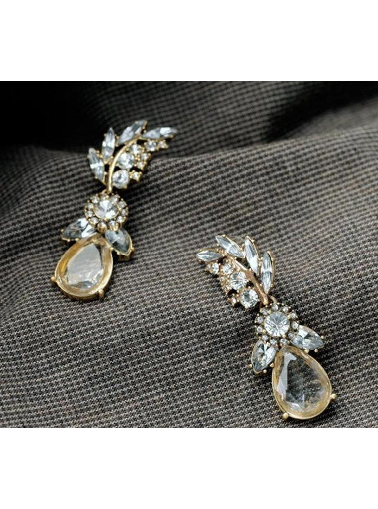 Lucency Statement Waterdrop Leaf Drop Earrings (5)