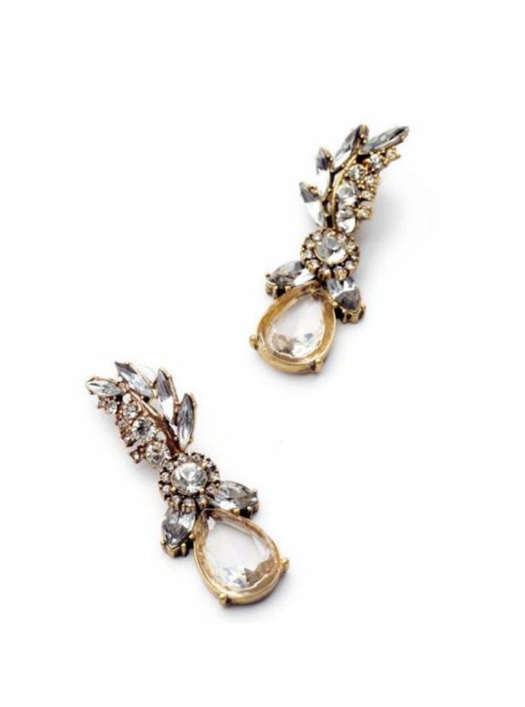 Lucency Statement Waterdrop Leaf Drop Earrings (1)