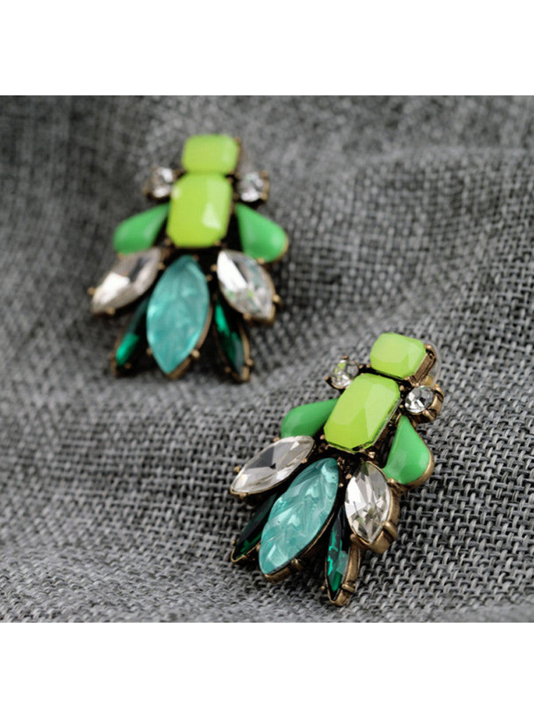 Trendy Elegant Green Gem Statement Stud Earrings