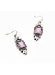 Elegant Pink Purplish Geometric Gem Dangle Earrings
