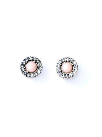 Sweet Pink Gem Stunning Rhinestone Small Stud Earrings