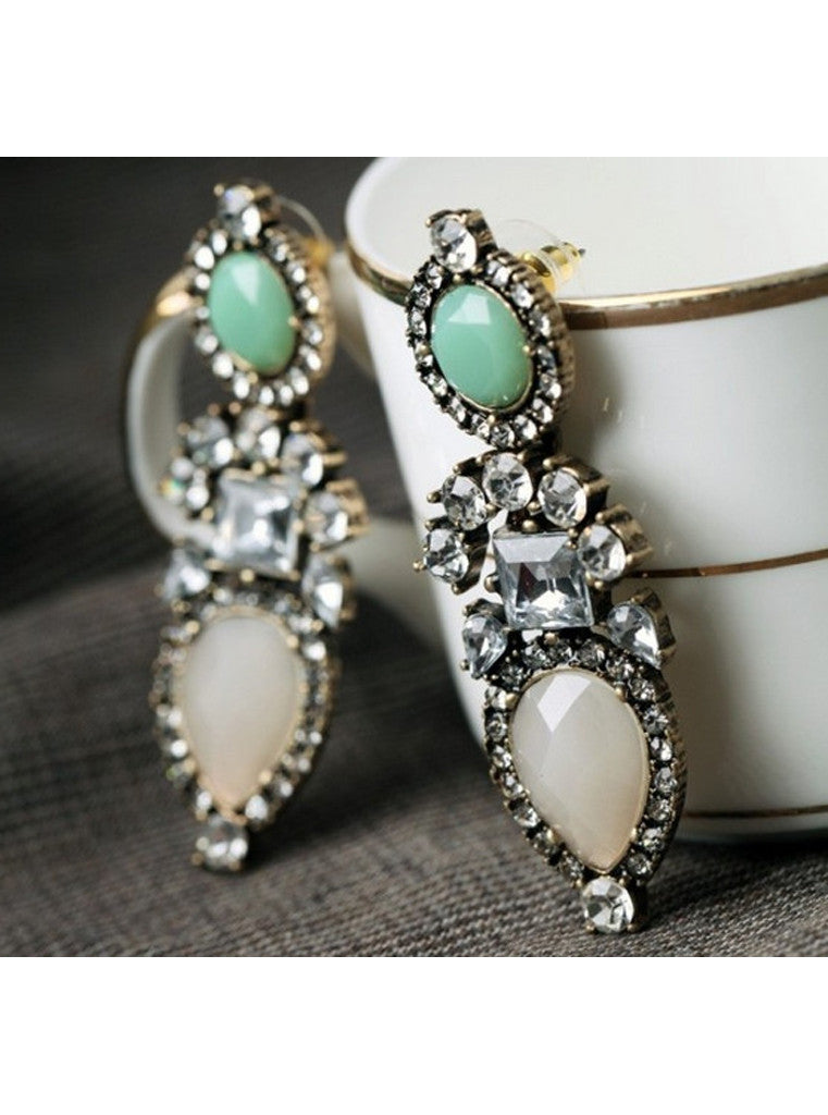 Fashion Pink Gem Rhinestone Statement Earrings
