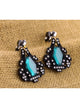 Retro Geometric Gem Black Statement Dangle Earrings
