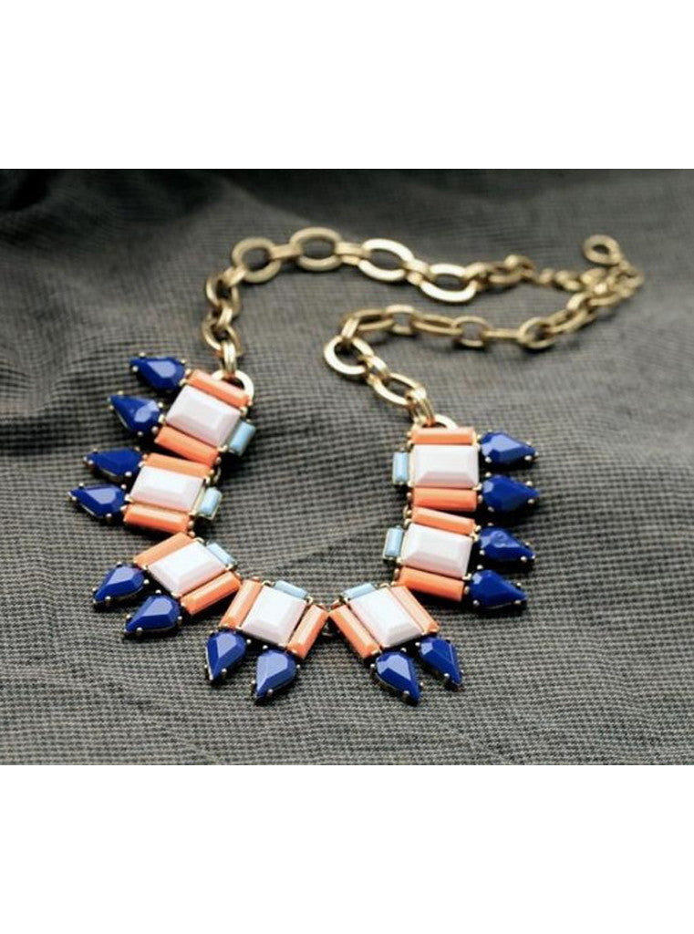 Trendy Fashion Color Blocking Spiked Choker Necklace