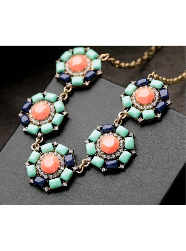 Vintage Rhinestone Green Flower Choker Necklace