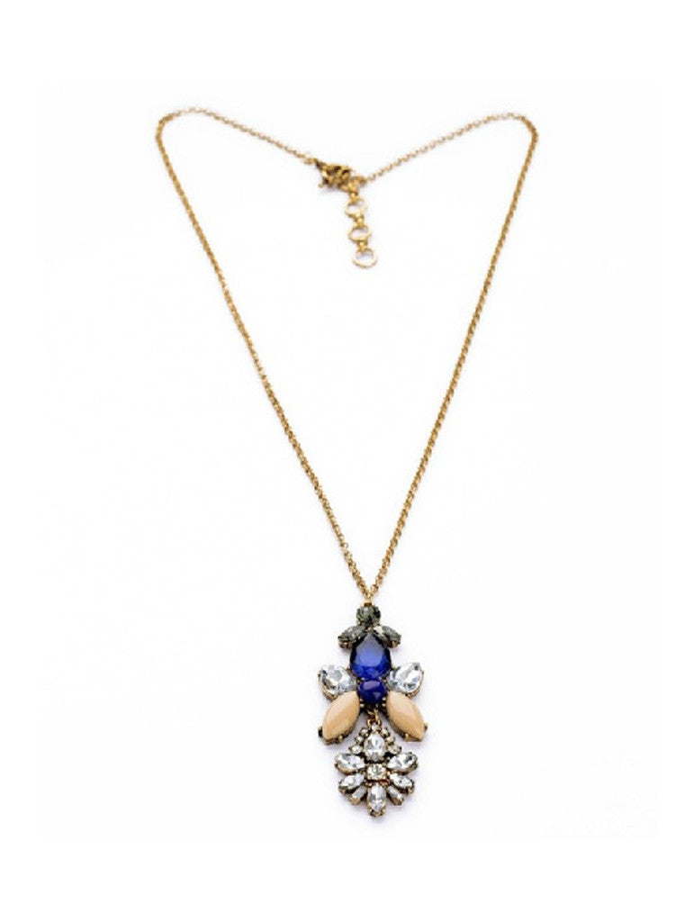 Boho Design Rhinestone Flower Long Pendant Necklace