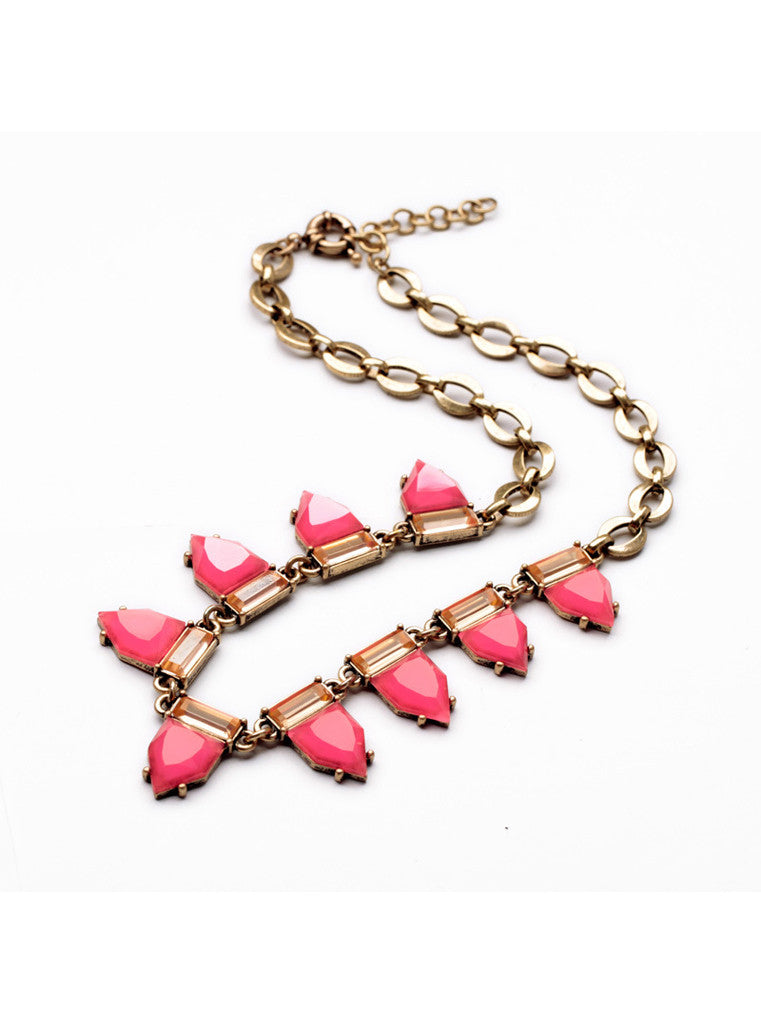 Fashion Sweet Hot Pink Geometric Gem Choker Necklace