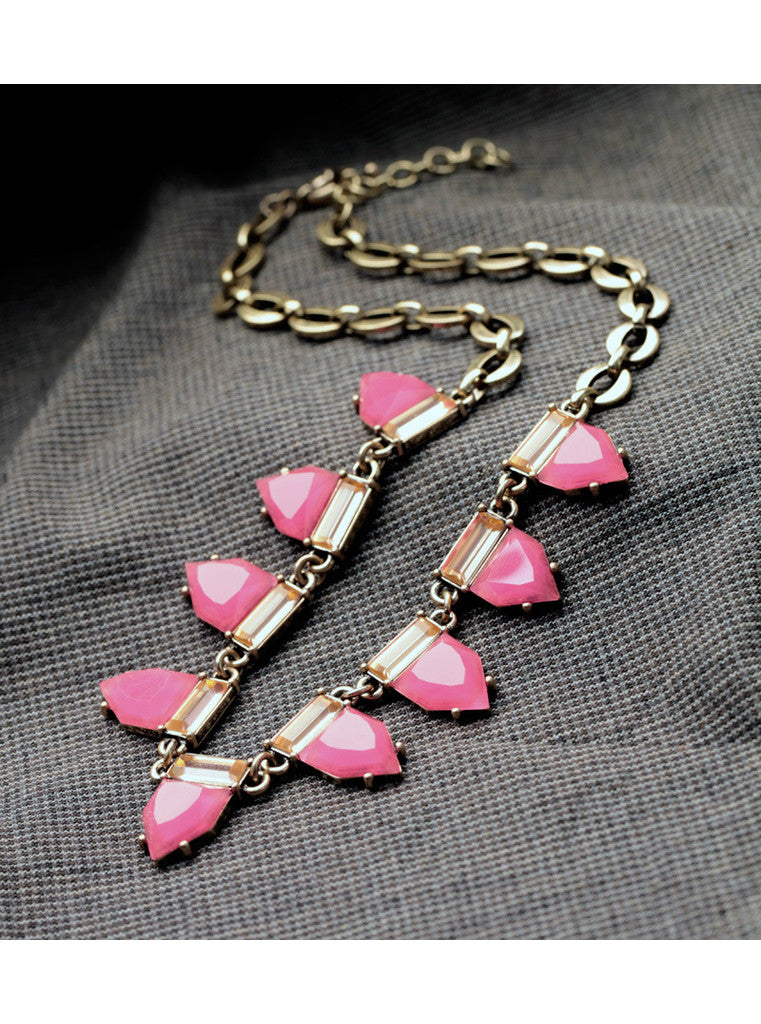 Fashion Sweet Hot Pink Geometric Gem Choker Necklace (2)