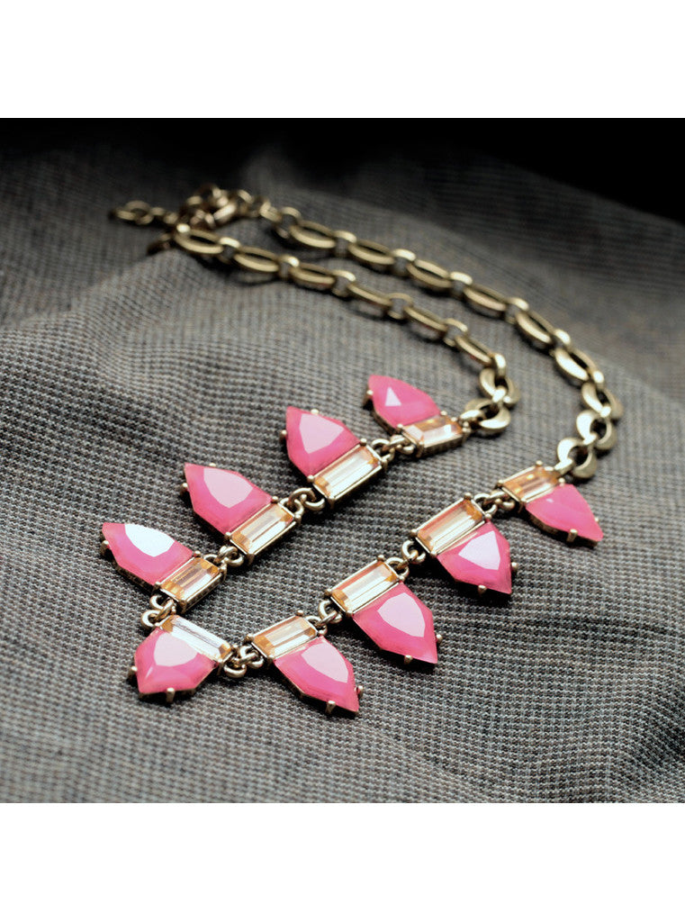 Fashion Sweet Hot Pink Geometric Gem Choker Necklace (3)