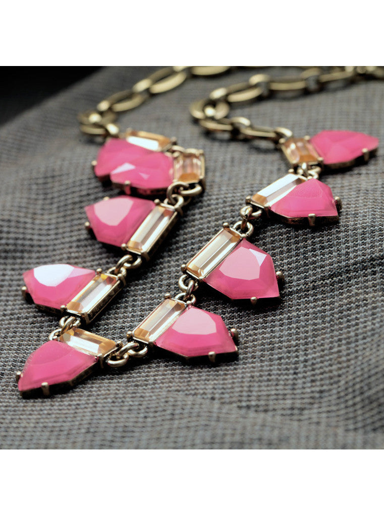 Fashion Sweet Hot Pink Geometric Gem Choker Necklace (1)