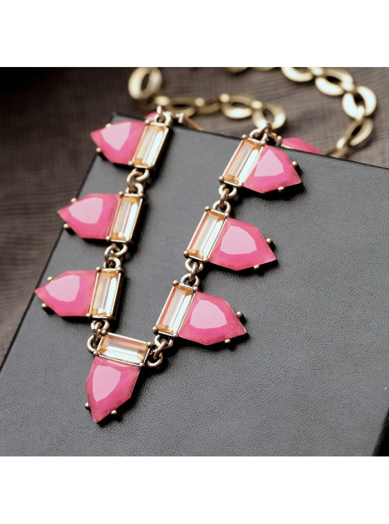 Fashion Sweet Hot Pink Geometric Gem Choker Necklace (4)