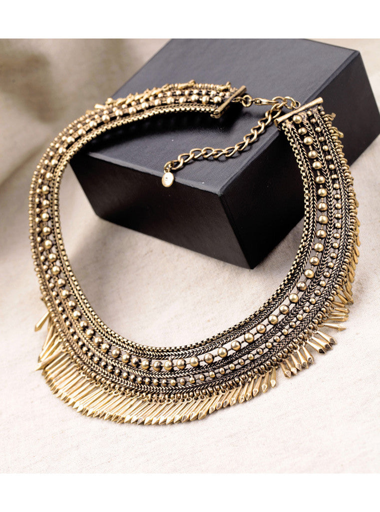 Fashion Vintage Bronze Rivet Bead Chunky Choker Necklace