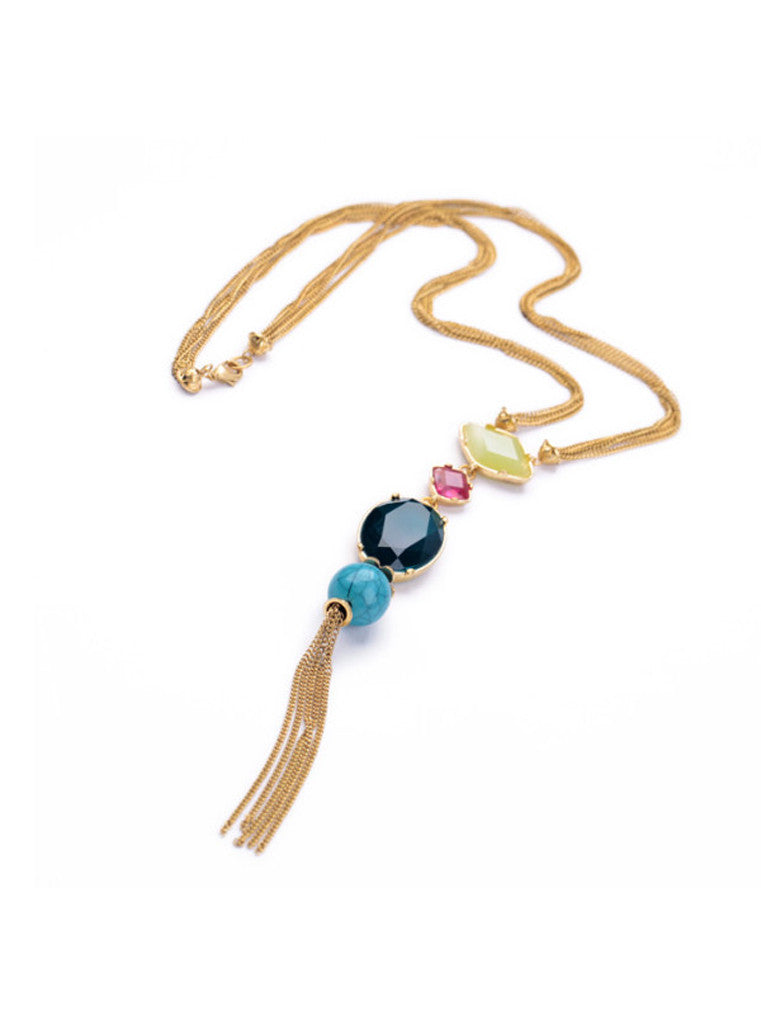 Fashion Chic Oval Blue Gem Turquoise Tassel Long Pendant Necklace (4)